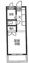 郡慶マンション6[410号室]の間取り