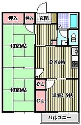ハイマート上野芝[1階]の間取り