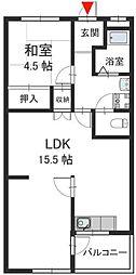 石切パークサイドマンション 額田町 新石切11分[1階]の間取り