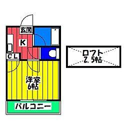 福岡県福岡市博多区諸岡3の賃貸アパートの間取り