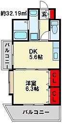 FARO戸畑駅前マンション[10階]の間取り