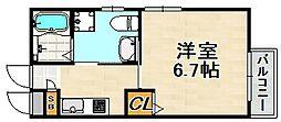 MIRAIE長田 3階1Kの間取り
