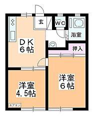 岡本キハイツA[201号室]の間取り