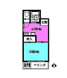 長谷川コーポ[203号室]の間取り
