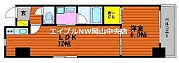 富田町二丁目マンション(仮) 2階1LDKの間取り