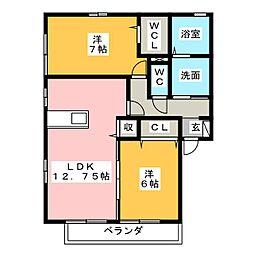 レセンテ・ジョイア[2階]の間取り