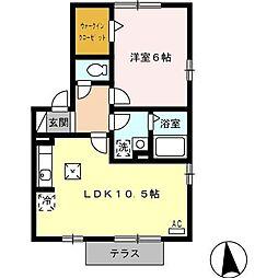 愛知県名古屋市緑区東神の倉1丁目の賃貸アパートの間取り