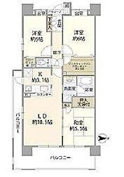 JR南武線 矢向駅 徒歩7分の賃貸マンション 6階3LDKの間取り