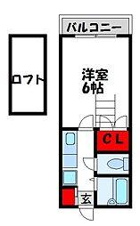 ステーションコーポ福間[207号室]の間取り