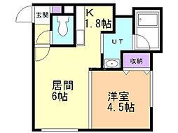 LEE SQUARE 栄通 2階1DKの間取り