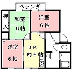 岐阜県岐阜市東材木町の賃貸アパートの間取り
