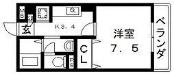 エクレール上小阪[202号室号室]の間取り