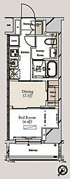 東京メトロ有楽町線 月島駅 徒歩3分の賃貸マンション 13階1DKの間取り