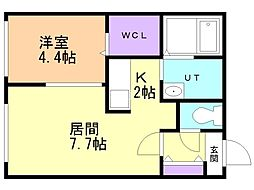 仮)澄川2-3B棟 3階1LDKの間取り