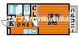 岡山県岡山市北区西崎2の賃貸アパートの間取り
