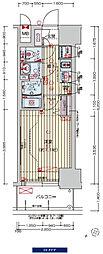 阪神なんば線 九条駅 徒歩3分の賃貸マンション 13階1Kの間取り