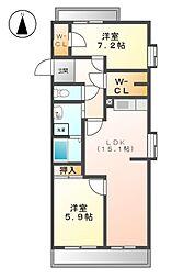 アーバンラフレ志賀 3号棟[5階]の間取り