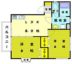 アロサール古賀[2階]の間取り