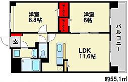 福岡県大野城市山田2丁目の賃貸マンションの間取り