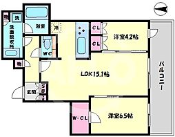 ブランズタワー梅田North(ブランズタワー梅田ノース) 5階2LDKの間取り