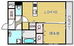 大阪府高槻市東五百住町3丁目の賃貸アパートの間取り