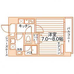 Uni Eterna 仙台学生会館 8階1Kの間取り