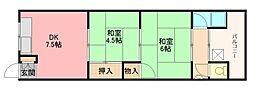 大阪府八尾市刑部3丁目の賃貸マンションの間取り