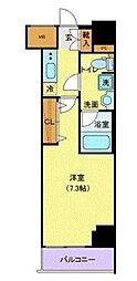 アンベリール青戸 13階1Kの間取り