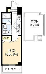 シャッツクヴェレ道玄坂 3階1Kの間取り