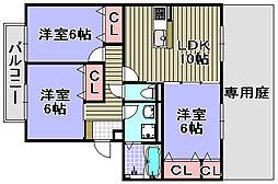 クレールW棟[101号室]の間取り