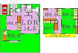 [一戸建] 千葉県野田市大殿井 の賃貸【/】の間取り
