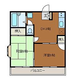 ベルハイツ1[2階]の間取り