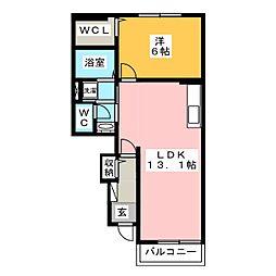 サニーハウス II 1階1LDKの間取り