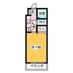 シャトー天神弐番館 2階1Kの間取り