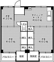 ビレッジハウス伏屋4号棟[2階]の間取り