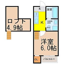 愛知県名古屋市守山区大森4丁目の賃貸アパートの間取り