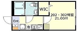東急東横線 日吉駅 徒歩8分の賃貸アパート 3階1Kの間取り
