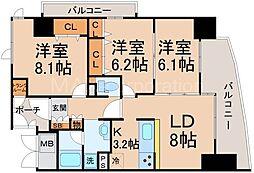 淀川イーストタワー[6階]の間取り