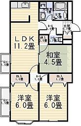 コートグランディア 一ツ家[2階]の間取り