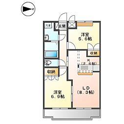 ハウス・グランベル[1階]の間取り
