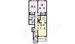南海高野線 萩原天神駅 徒歩13分の賃貸アパート 1階2LDKの間取り