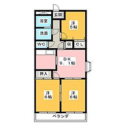 ディアコート東野[1階]の間取り