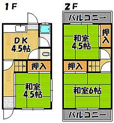 兵庫県神戸市西区枝吉1丁目の賃貸アパートの間取り