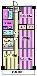 エシール岡村弐番館[3階]の間取り