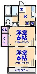 第四井上荘[201号室]の間取り