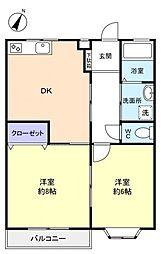 千葉県船橋市田喜野井2丁目の賃貸アパートの間取り