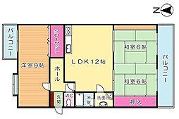 エメラルドマンション南小倉B棟[4階]の間取り