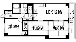 インペリアル花屋敷[4階]の間取り