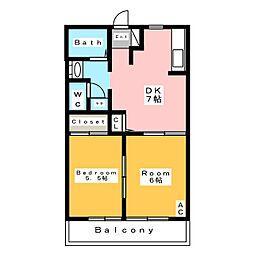 ディアスクレール B[1階]の間取り