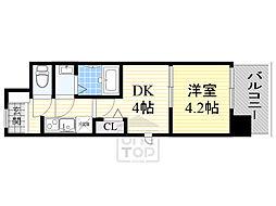 ビガーポリス346京橋2 7階1DKの間取り